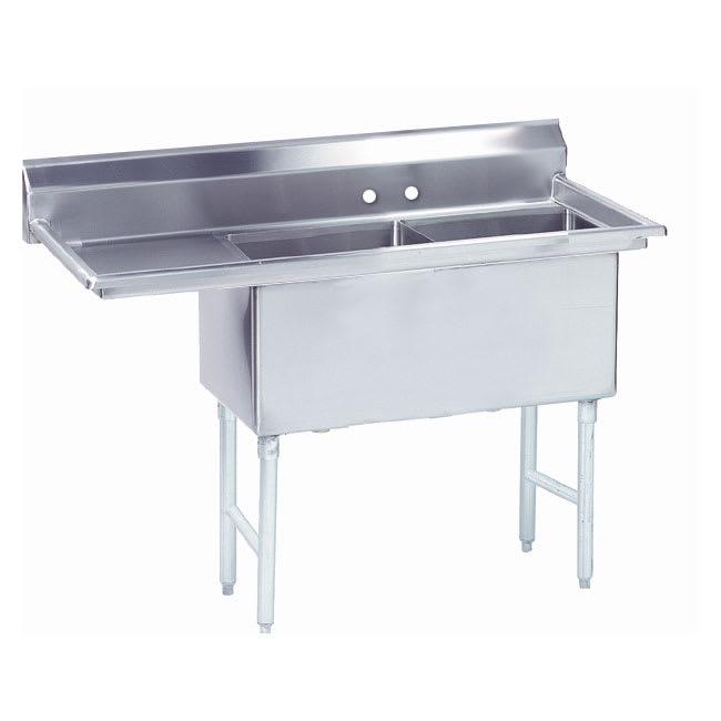 """Advance Tabco FS-2-1824-18L 56.5"""" 2 Compartment Sink w/ 18""""L x 24""""W Bowl, 14"""" Deep"""