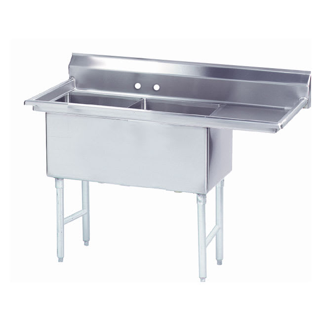 """Advance Tabco FS-2-1824-18R 56.5"""" 2-Compartment Sink w/ 18""""L x 24""""W Bowl, 14"""" Deep"""