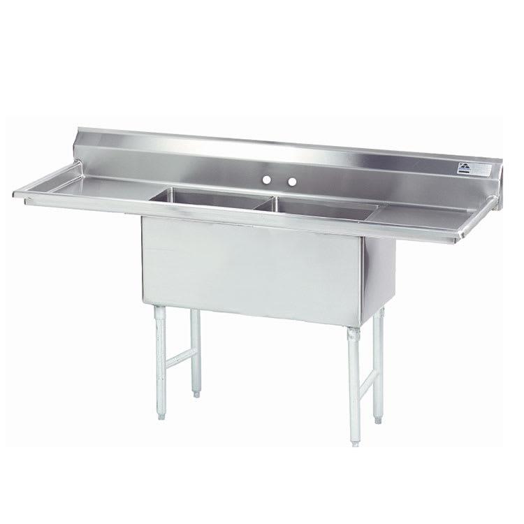 """Advance Tabco FS-2-1824-18RL 72"""" 2-Compartment Sink w/ 18""""L x 24""""W Bowl, 14"""" Deep"""