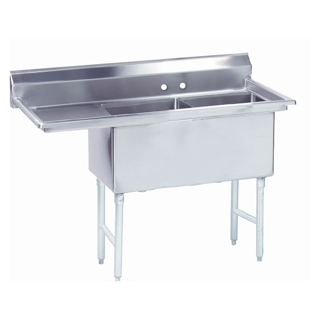 """Advance Tabco FS-2-1824-24L 62.5"""" 2-Compartment Sink w/ 18""""L x 24""""W Bowl, 14"""" Deep"""