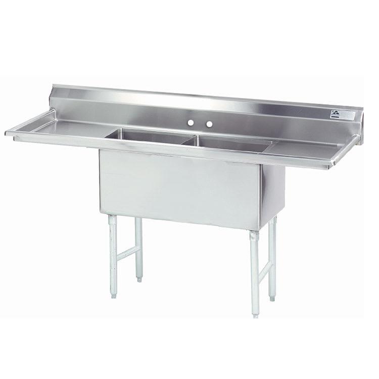 """Advance Tabco FS-2-1824-24RL 84"""" 2 Compartment Sink w/ 18""""L x 24""""W Bowl, 14"""" Deep"""