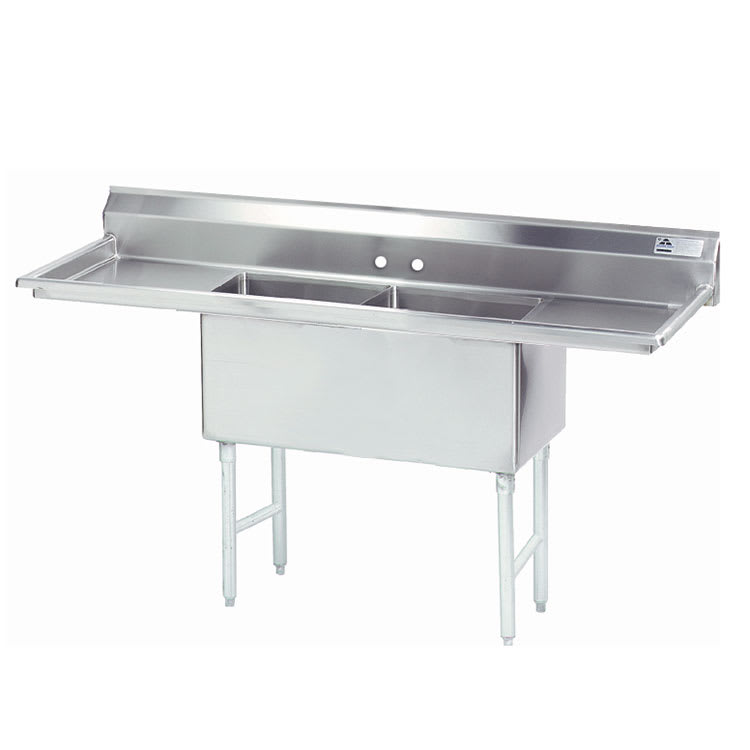 "Advance Tabco FS-2-2424-18RL 84"" 2-Compartment Sink w/ 24""L x 24""W Bowl, 14"" Deep"
