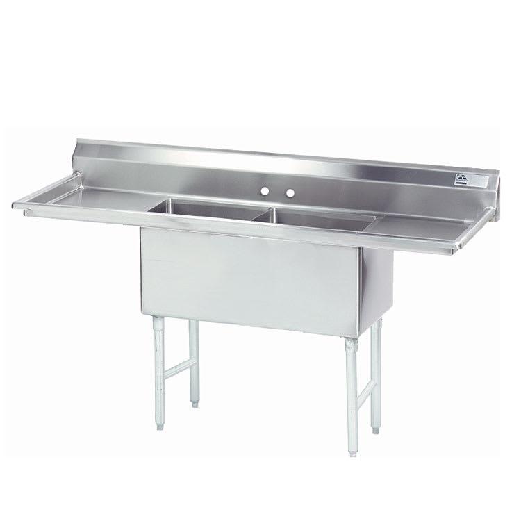 """Advance Tabco FS-2-2424-24RL 96"""" 2-Compartment Sink w/ 24""""L x 24""""W Bowl, 14"""" Deep"""