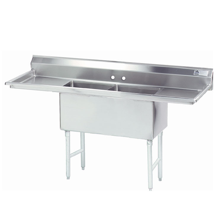 "Advance Tabco FS-2-3024-24RL 108"" 2-Compartment Sink w/ 30""L x 24""W Bowl, 14"" Deep"