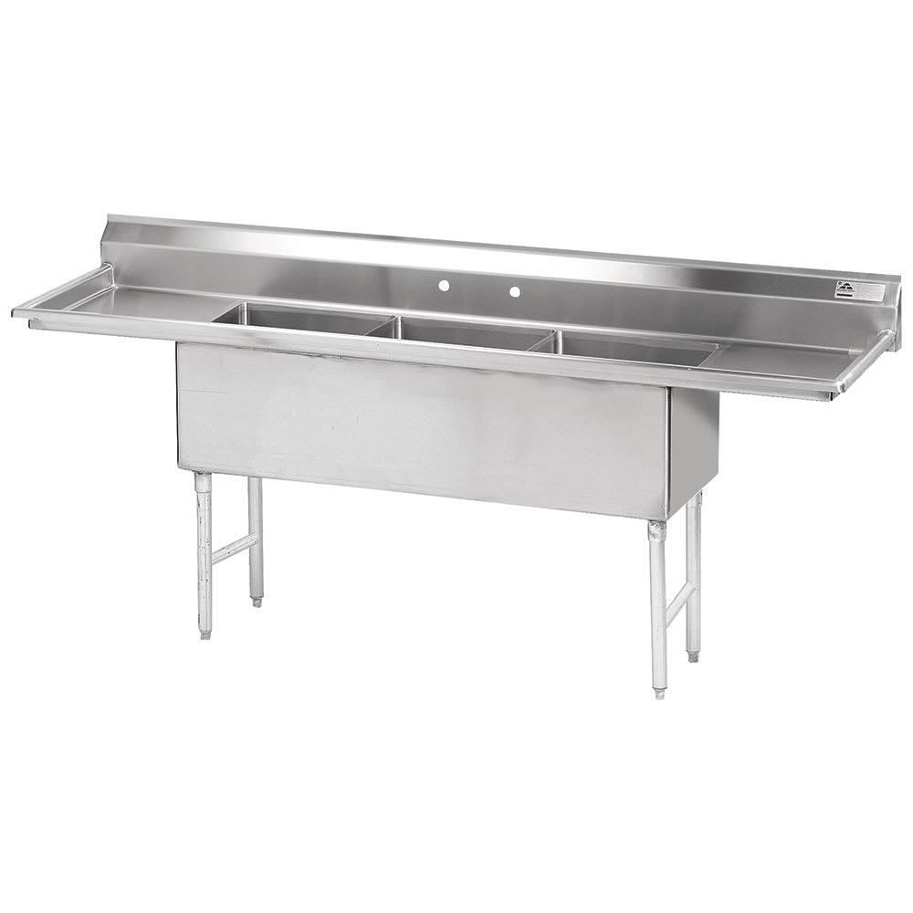 """Advance Tabco FS-3-1824-18RL 90"""" 3-Compartment Sink w/ 18""""L x 24""""W Bowl, 14"""" Deep"""