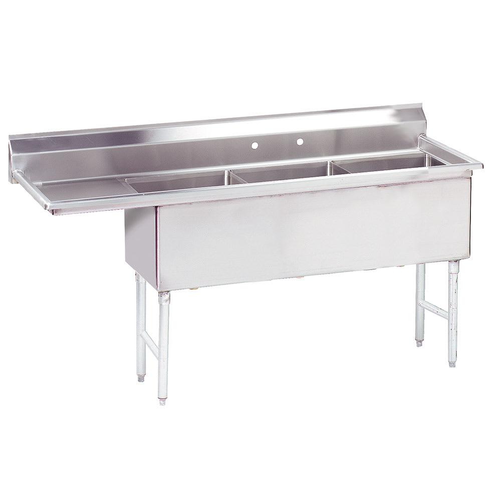 """Advance Tabco FS-3-2424-18L 92.5"""" 3 Compartment Sink w/ 24""""L x 24""""W Bowl, 14"""" Deep"""