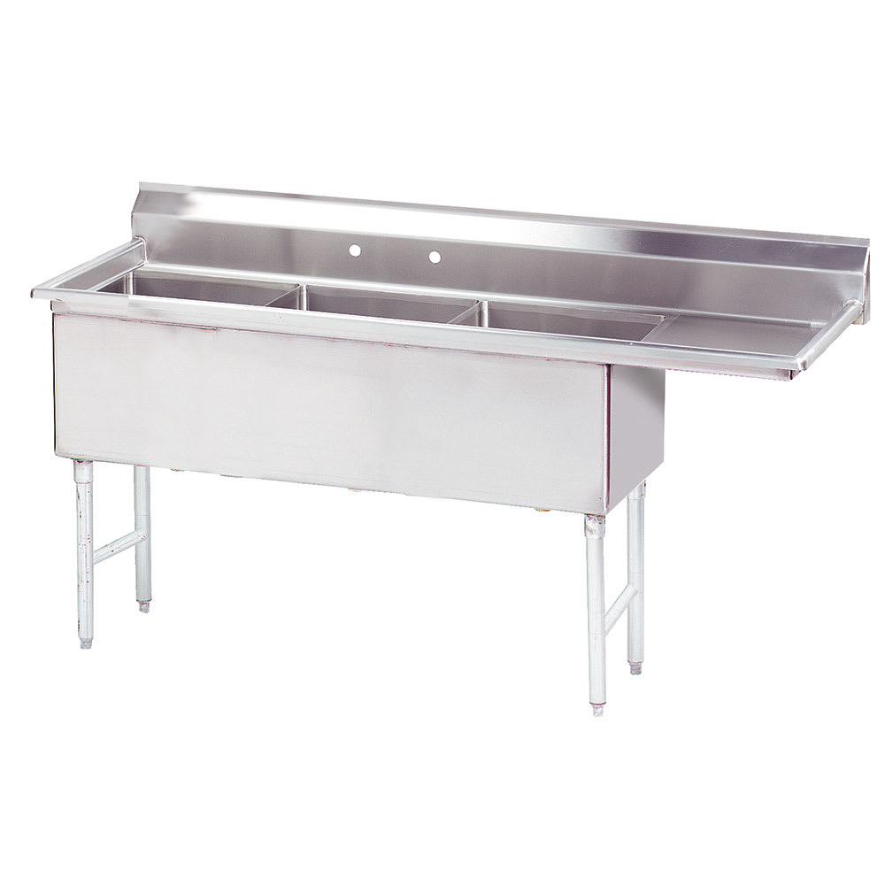"Advance Tabco FS-3-2424-18R 92.5"" 3-Compartment Sink w/ 24""L x 24""W Bowl, 14"" Deep"