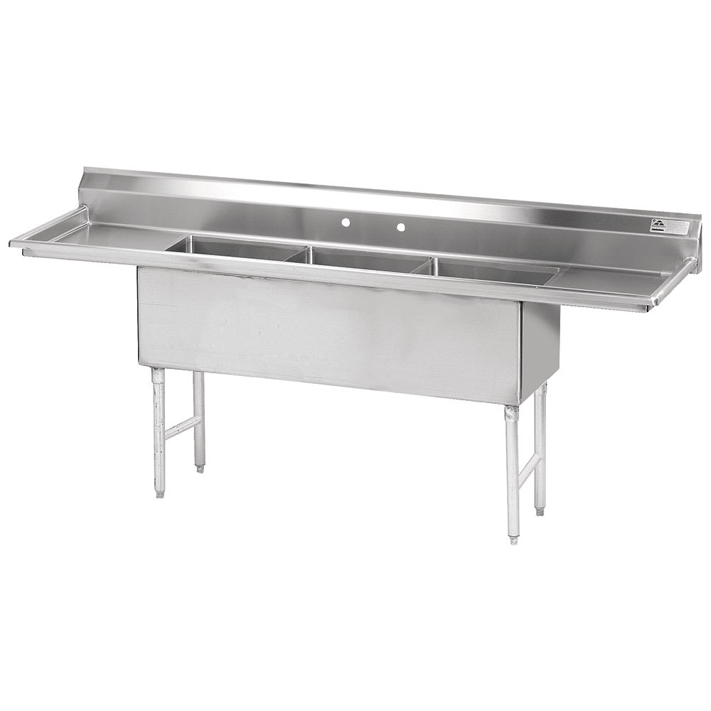 "Advance Tabco FS-3-2424-24RL 120"" 3-Compartment Sink w/ 24""L x 24""W Bowl, 14"" Deep"