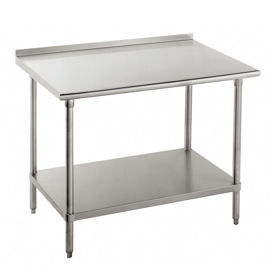 "Advance Tabco FSS-2412 144"" 14-ga Work Table w/ Undershelf & 304-Series Stainless Top, 1.5"" Backsplash"