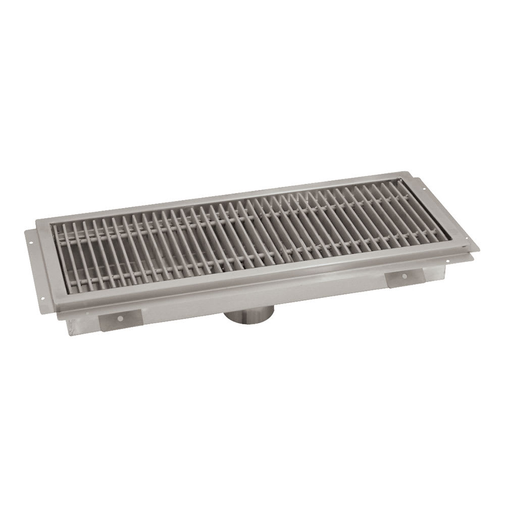 """Advance Tabco FTG-1242 Floor Trough - Removable Strainer Basket, 12x42x4"""", 14 ga 304 Stainless"""