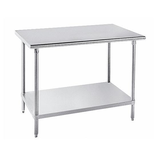 "Advance Tabco GLG-248 96"" 14 ga Work Table w/ Undershelf & 304 Series Stainless Flat Top"