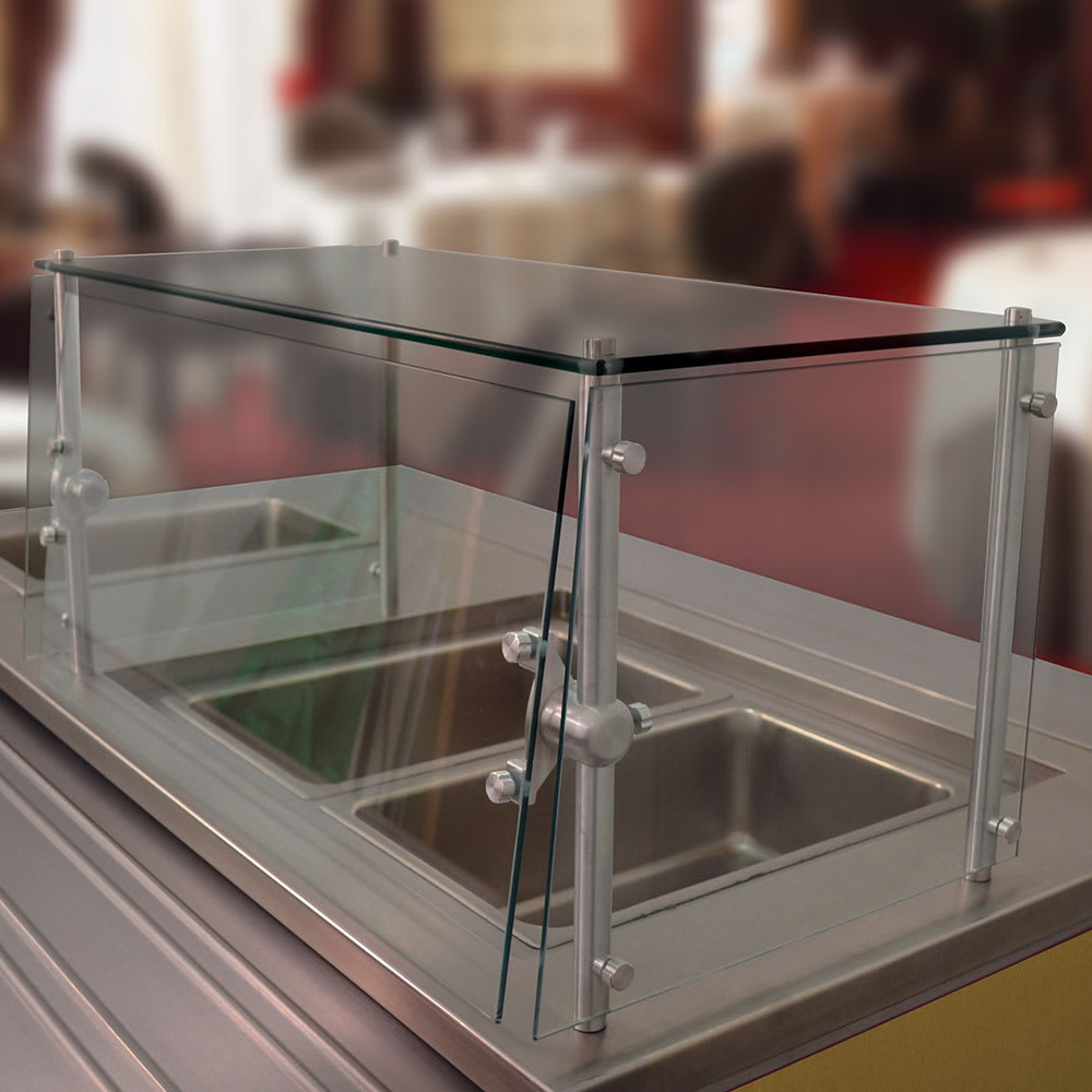 Advance Tabco GSGC-15-60 Cafeteria Style Food Shield - Glass Top Shelf, 100 lb Capacity, 15x60x18