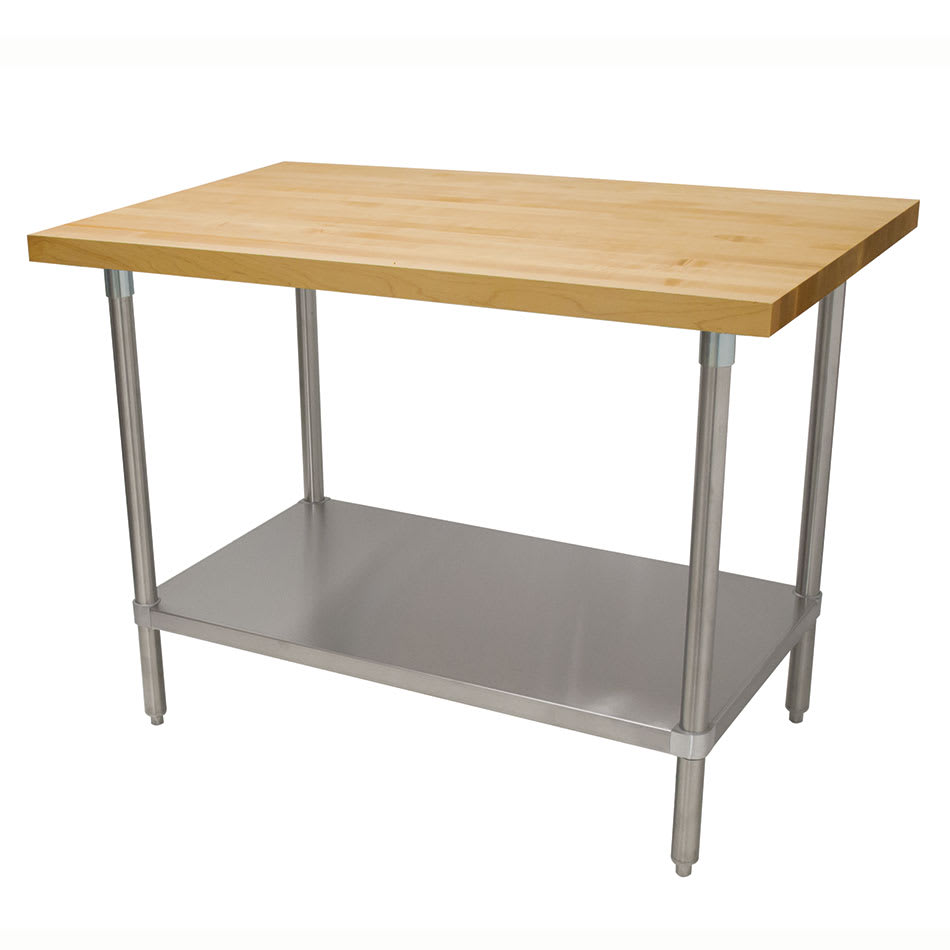"Advance Tabco H2G-366 1.75"" Maple Top Work Table w/ Undershelf, 72""L x 36""D"