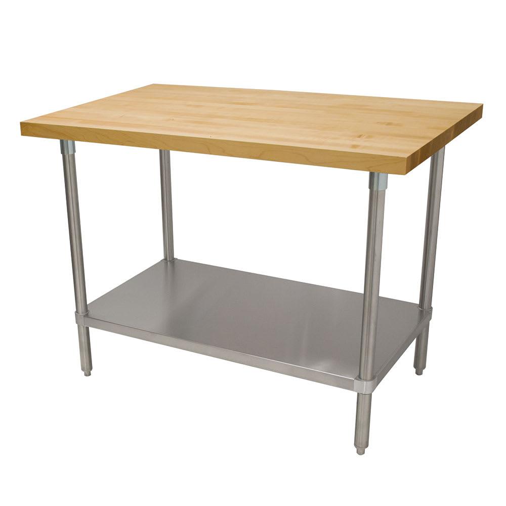 "Advance Tabco H2S-245 1.75"" Maple Top Work Table w/ Undershelf, 60""L x 24""D"