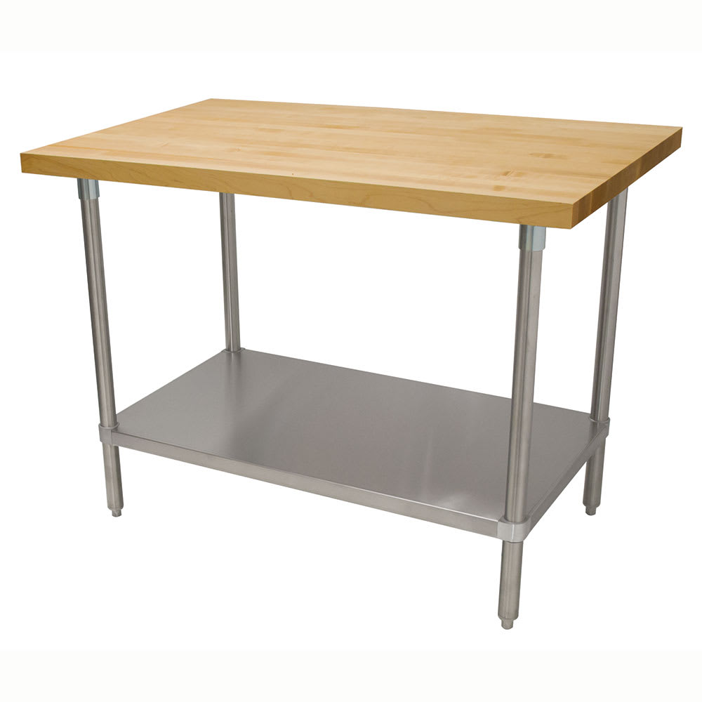 "Advance Tabco H2S-368 1.75"" Maple Top Work Table w/ Undershelf, 96""L x 36""D"