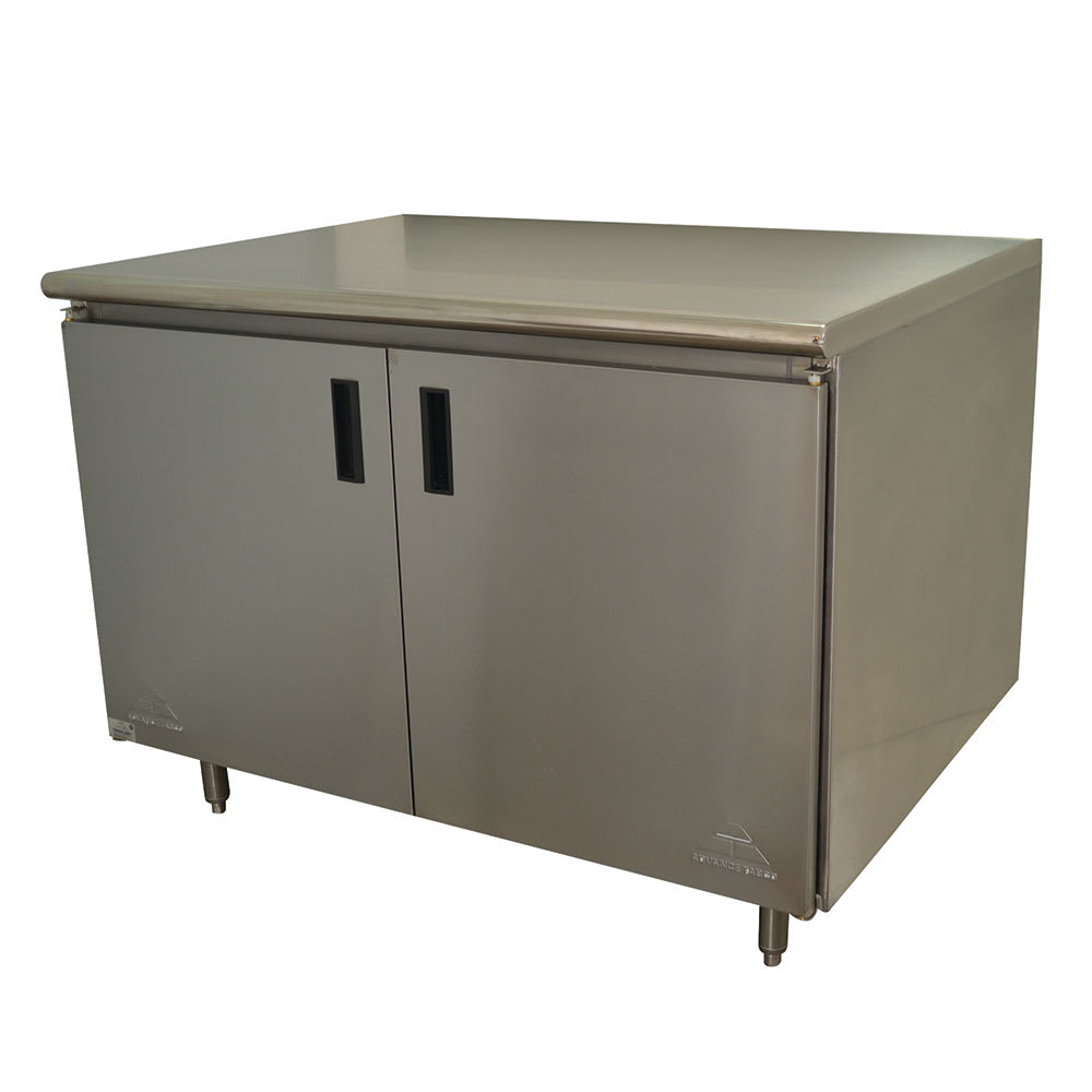 """Advance Tabco HB-SS-244 48"""" Enclosed Work Table w/ Swing Doors, 24""""D"""