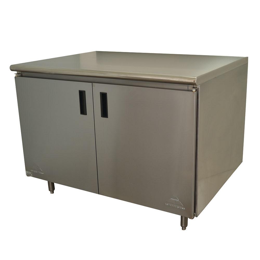 "Advance Tabco HB-SS-303M 36"" Enclosed Work Table w/ Swing Doors & Midshelf, 30""D"
