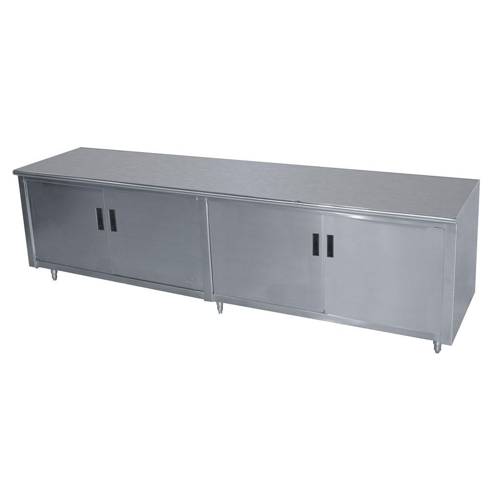 "Advance Tabco HB-SS-309M 108"" Enclosed Work Table w/ Swing Doors & Midshelf, 30""D"