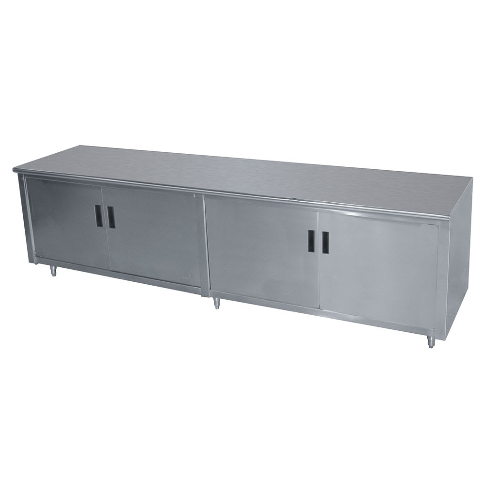 "Advance Tabco HB-SS-368M 96"" Enclosed Work Table w/ Swing Doors & Midshelf, 36""D"