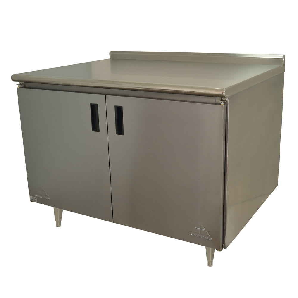 "Advance Tabco HK-SS-304M 48"" Enclosed Work Table w/ Swing Doors & Midshelf, 5"" Backsplash, 30""D"