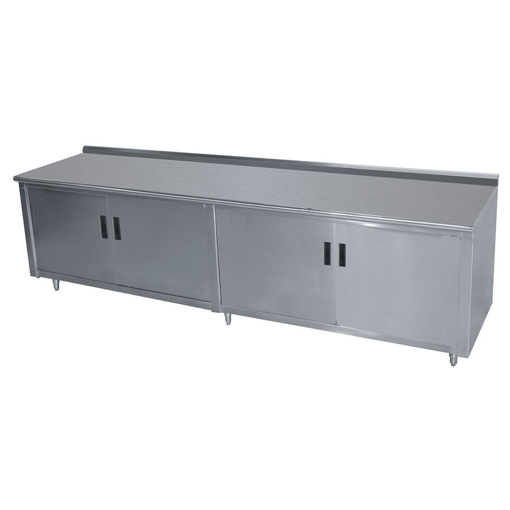 "Advance Tabco HK-SS-308M 96"" Enclosed Work Table w/ Swing Doors & Midshelf, 5"" Backsplash, 30""D"