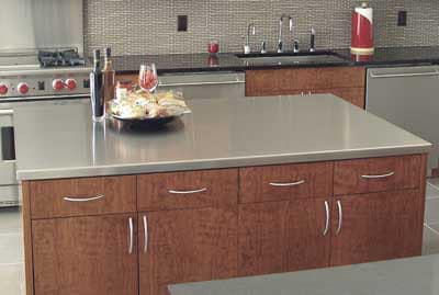 """Advance Tabco ICT486RE 73"""" Island Countertop - 49"""" W, 16-ga 304-Stainless, Satin Finish"""