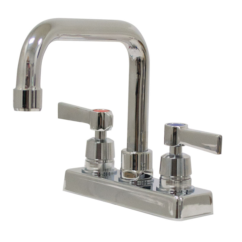 "Advance Tabco K-124 Deck Mount Faucet - 6"" Extended D-Spout, 4"" On-Center"