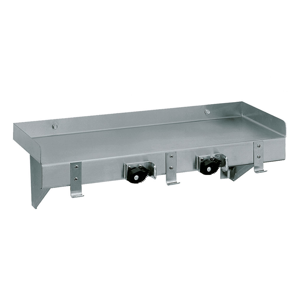 """Advance Tabco K-245 Solid Wall Mounted Shelf, 24""""W x 8""""D, Stainless"""