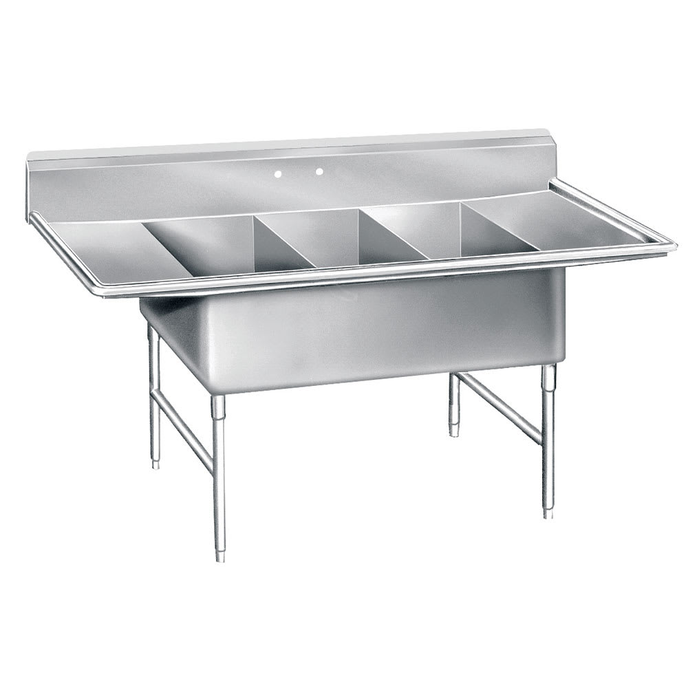 "Advance Tabco K7-3-3024-24RL 138"" 3 Compartment Sink w/ 30""L x 24""W Bowl, 14"" Deep"