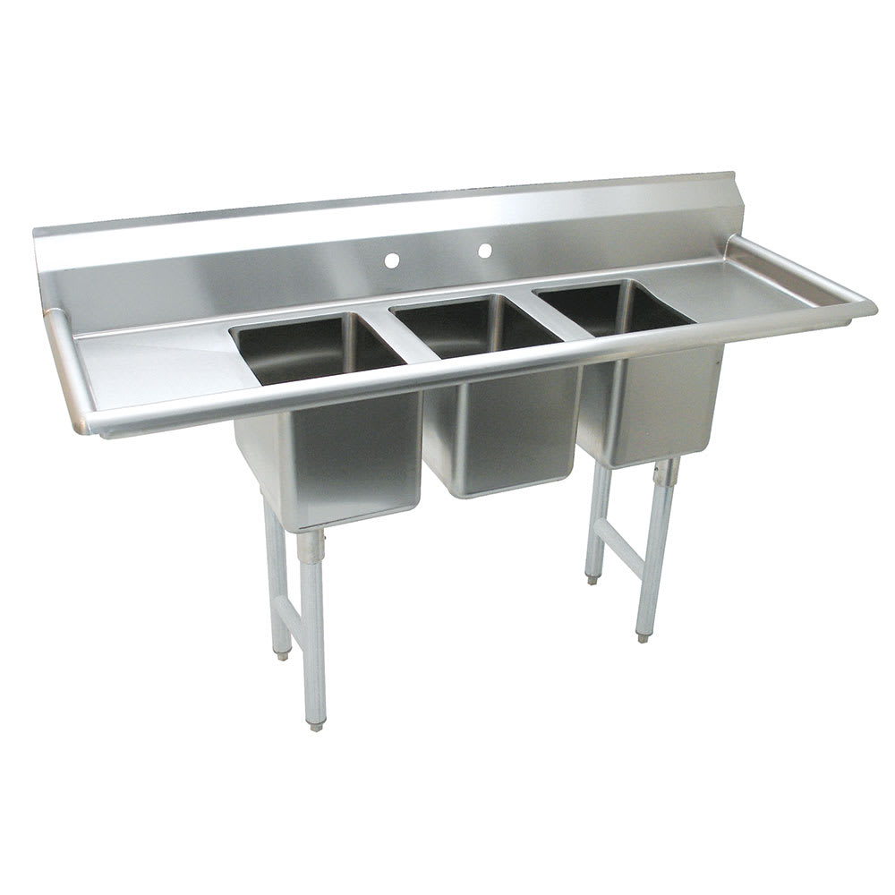 "Advance Tabco K7-CS-21-EC 58"" 3-Compartment Sink w/ 10""L x 14""W Bowl, 10"" Deep"