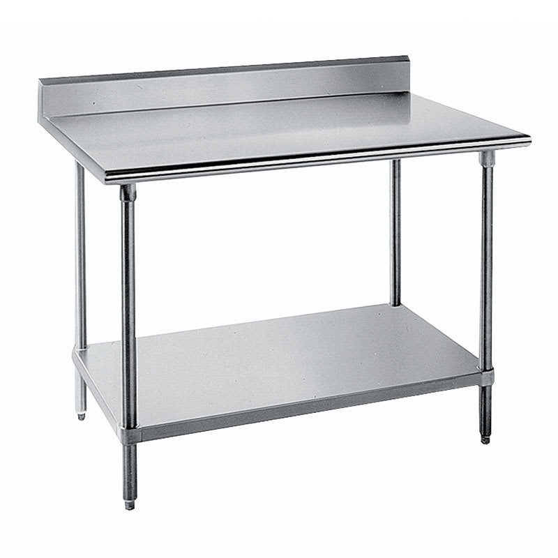 "Advance Tabco KAG-307 84"" 16 ga Work Table w/ Undershelf & 430 Series Stainless Top, 5"" Backsplash"