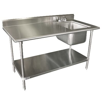 Advance Tabco KLAGBR Work Table W Right Sink - Stainless steel work table with sink