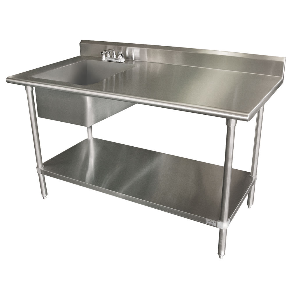Advance Tabco KLAGBLX Work Table W Left Sink - Stainless steel work table with sink