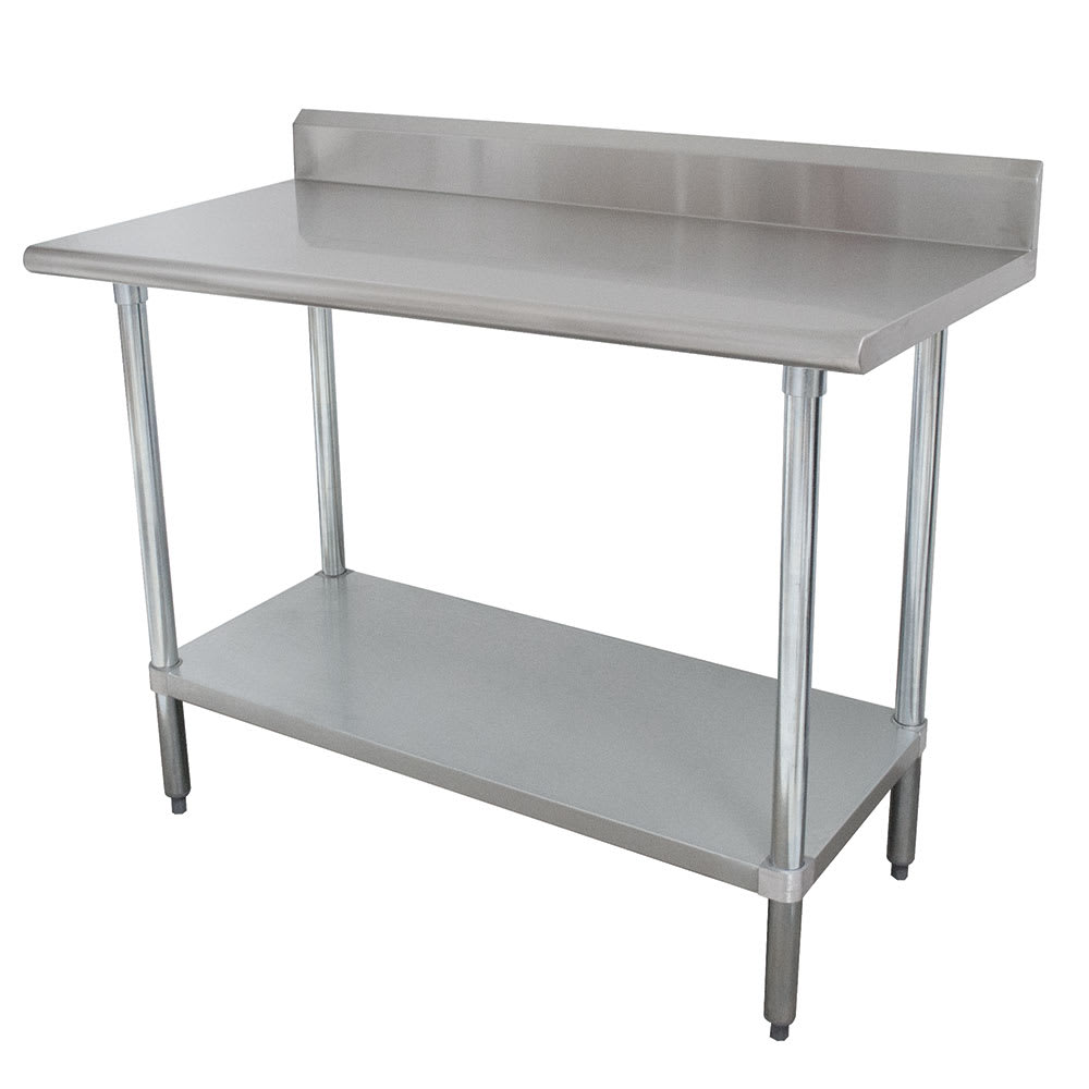 "Advance Tabco KLAG-248 96"" 16 ga Work Table w/ Undershelf & 430 Series Stainless Top, 5"" Backsplash"