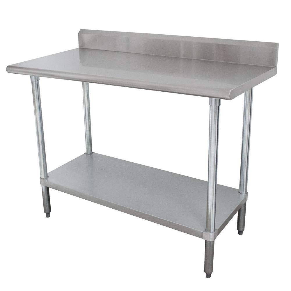 "Advance Tabco KLAG-308 96"" 16 ga Work Table w/ Undershelf & 430 Series Stainless Top, 5"" Backsplash"