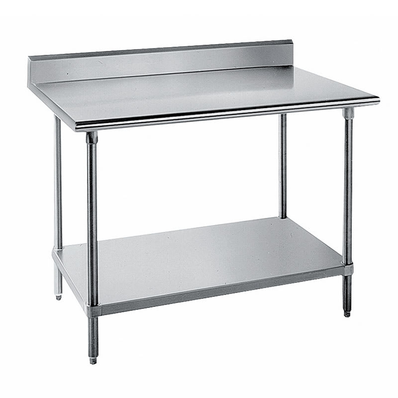 "Advance Tabco KLG-3610 120"" 14-ga Work Table w/ Undershelf & 304-Series Stainless Top, 5"" Backsplash"
