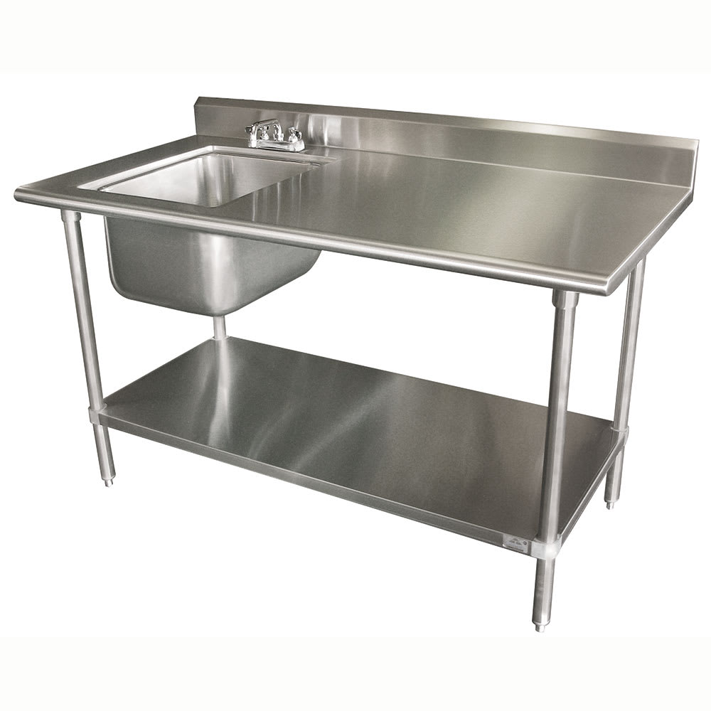 "Advance Tabco KMS-11B-305L 60"" Work Table - Left Sink, 5"" Backsplash, 30"" W, 16-ga 304-Stainless"