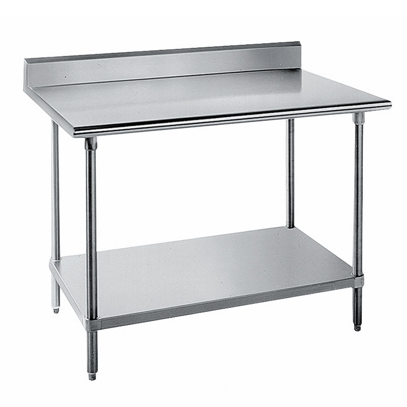 "Advance Tabco KMS-367 84"" 16-ga Work Table w/ Undershelf & 304-Series Stainless Top, 5"" Backsplash"