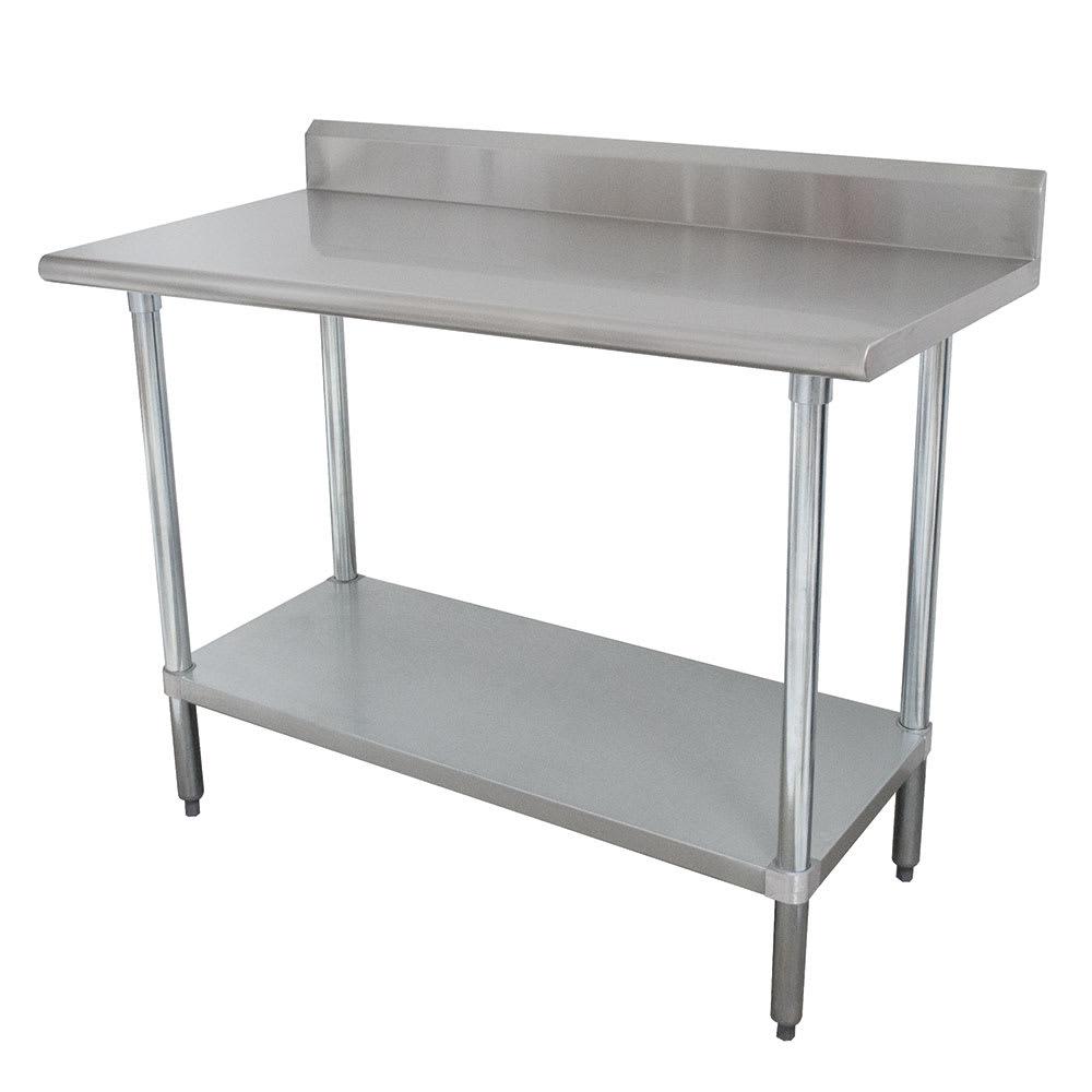"""Advance Tabco KMSLAG-248 96"""" 16-ga Work Table w/ Undershelf & 304-Series Stainless Top, 5"""" Backsplash"""