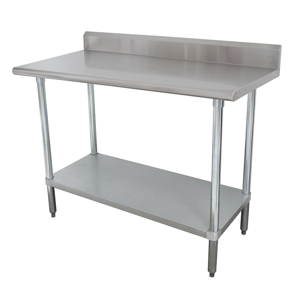 "Advance Tabco KSLAG-244 48"" 16 ga Work Table w/ Undershelf & 430 Series Stainless Top, 5"" Backsplash"
