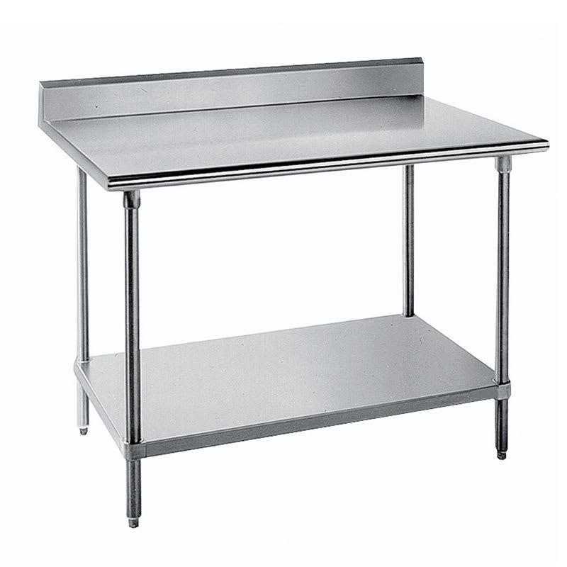 "Advance Tabco KSS-2412 144"" 14-ga Work Table w/ Undershelf & 304-Series Stainless Top, 5"" Backsplash"