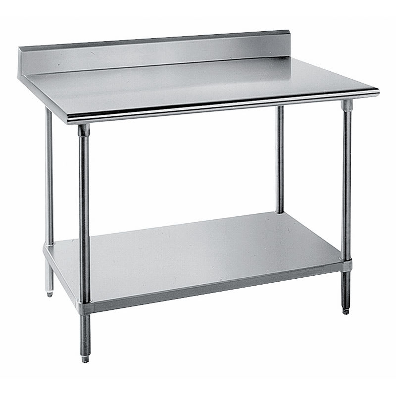 "Advance Tabco KSS-304 48"" 14 ga Work Table w/ Undershelf & 304 Series Stainless Top, 5"" Backsplash"