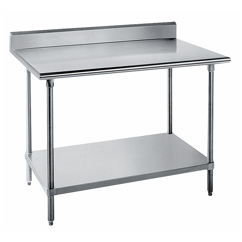 "Advance Tabco KSS-308 96"" 14-ga Work Table w/ Undershelf & 304-Series Stainless Top, 5"" Backsplash"