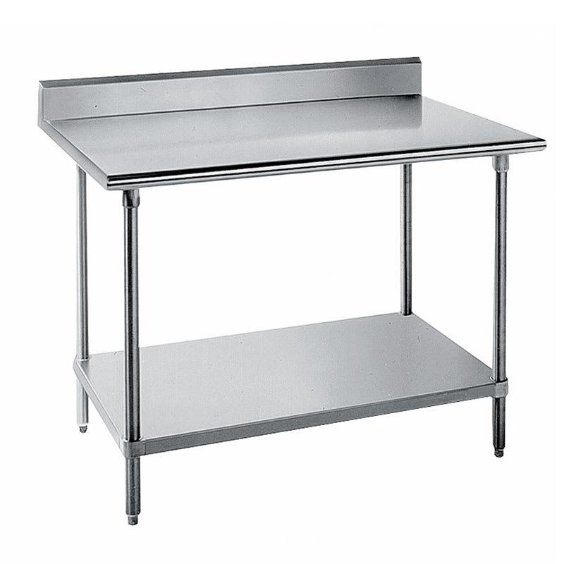 "Advance Tabco KSS-368 96"" 14-ga Work Table w/ Undershelf & 304-Series Stainless Top, 5"" Backsplash"