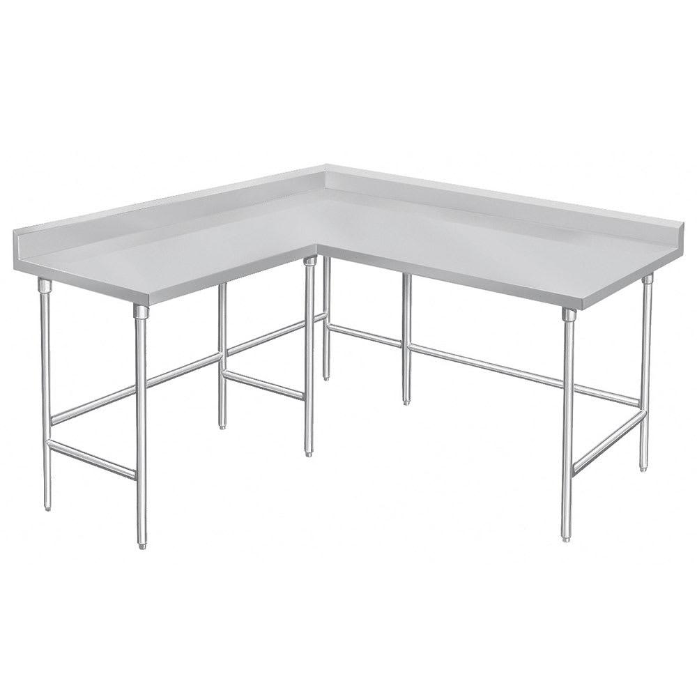 "Advance Tabco KTMS-2411 132"" Corner Work Table - 24""D, 5"" Backsplash, 14-ga 304-Series Stainless"