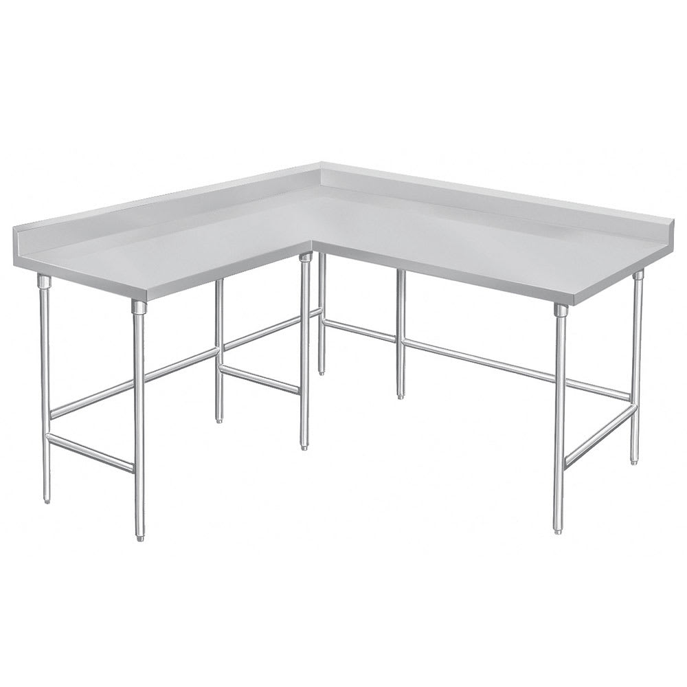 "Advance Tabco KTMS-249 108"" Corner Work Table - 24""D, 5"" Backsplash, 14 ga 304 Series Stainless"
