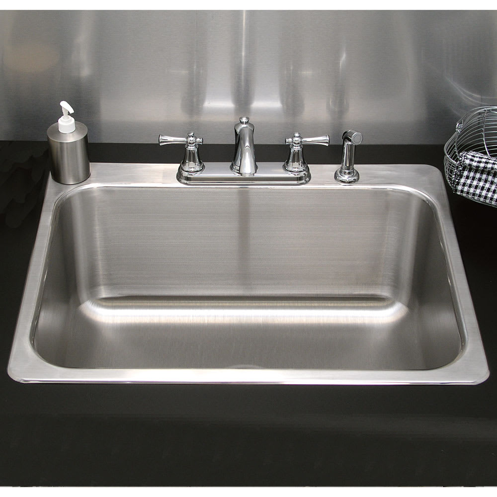 "Advance Tabco LS241814RE Laundry Room Drop-In Sink - (1) 24x18x14"" Bowl, 16-ga Stainless"