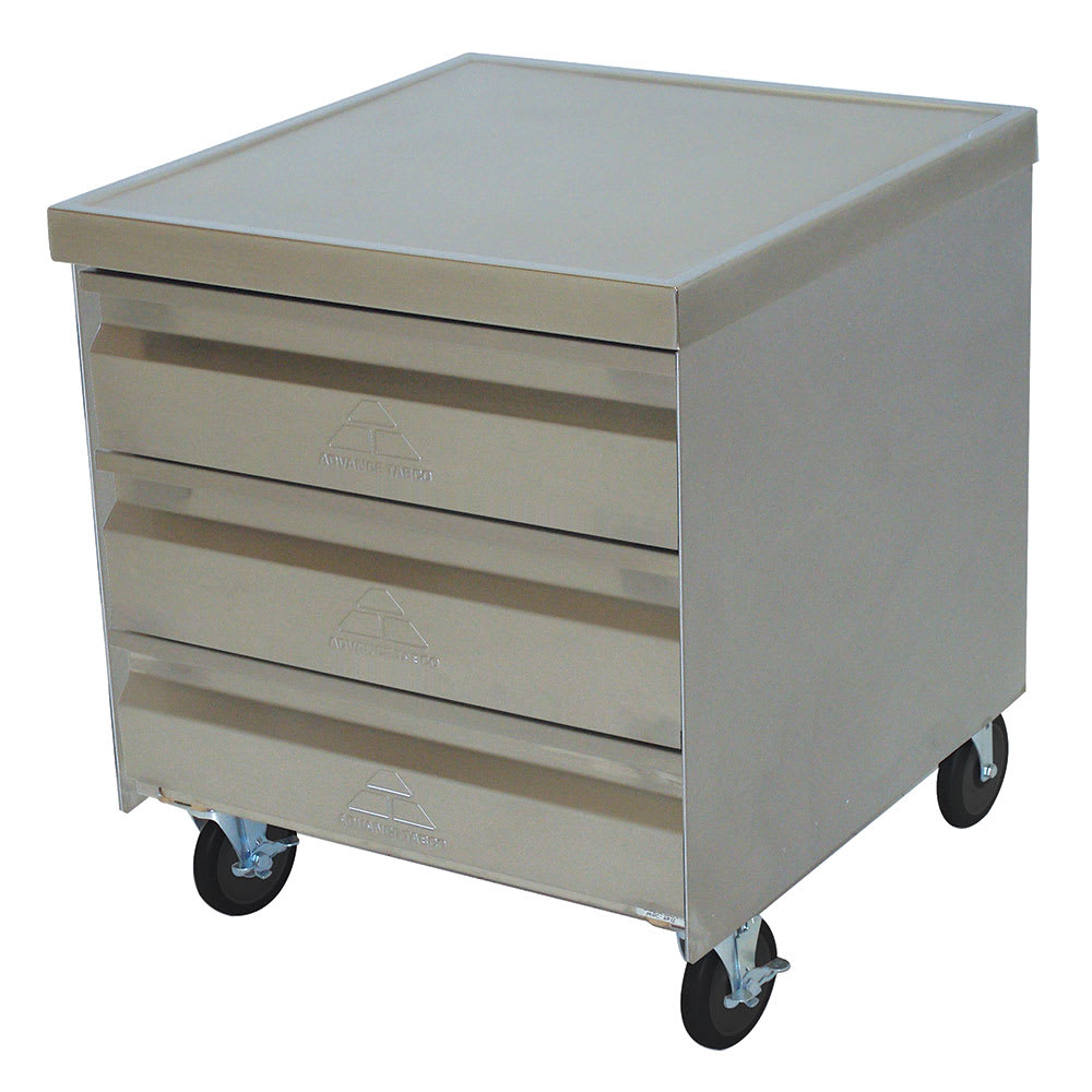 "Advance Tabco MDC-2020 Mobile Cabinet - (3) 20x20"" Drawers, Stainless Top"