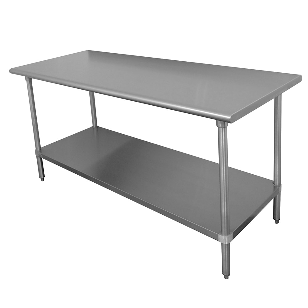 """Advance Tabco MS-366 72"""" 16-ga Work Table w/ Undershelf & 304-Series Stainless Flat Top"""