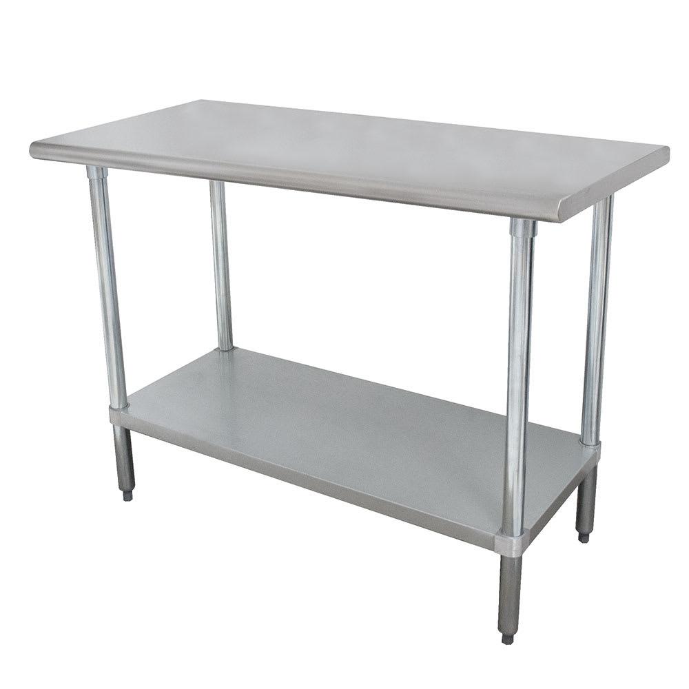"Advance Tabco MSLAG-248 96"" 16 ga Work Table w/ Undershelf & 304 Series Stainless Flat Top"